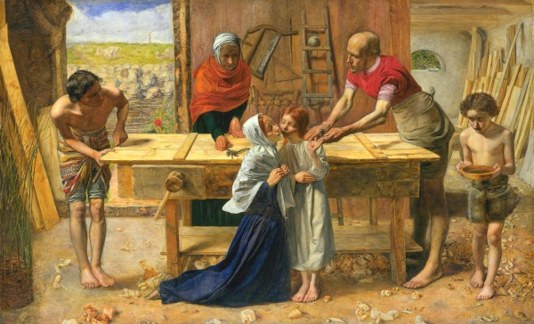 "John Everett Millais' religious painting ""Christ in the House of His Parents"" (1849-1850). Millais as a realist painter depicted the figures in this painting, including Jesus controversially, in humble surroundings and clothing, which drew ire from offended critics."