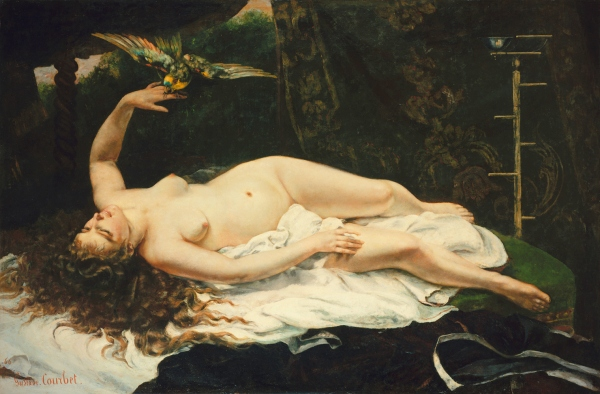 """La Femme au Perroquet"" by Gustave Courbet (1866). One of three paintings Courbet produced in 1866 which were controversial for their realism and overtly erotic depictions of the nude female form."
