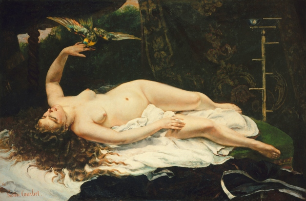 """""""La Femme au Perroquet"""" by Gustave Courbet (1866). One of three paintings Courbet produced in 1866 which were controversial for their realism and overtly erotic depictions of the nude female form."""