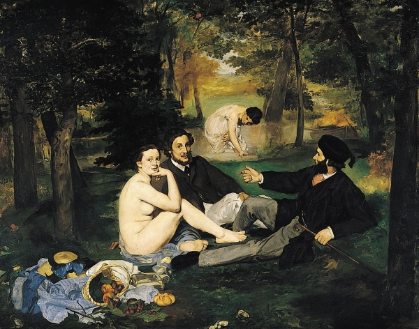 """""""Le Déjeuner sur l'Herbe"""" by Édouard Manet (1862-1863). Manet caused a scandal for his depiction of two modern gentlemen in formal attire having a picnic with two casually nude women."""