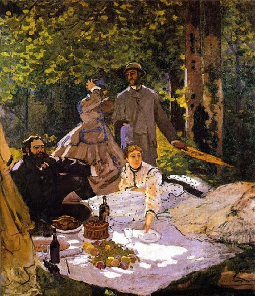 """Claude Monet's version of """"Le Déjeuner sur l'Herbe"""" (1865-1866), which features Gustave Courbet sitting down at the picnic and Manet's own lover and future wife, Camille Doncieux, as well as his Impressionist painter colleague, Frédéric Bazille."""