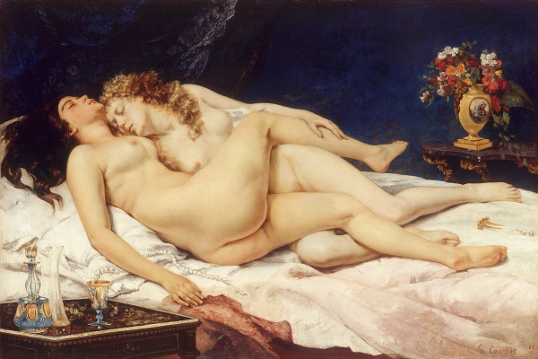 """Another striking example of Courbet's push towards eroticism is his 1866 painting """"Le Sommeil"""" which depicts two nude female lovers sleeping together after sexual intimacy."""
