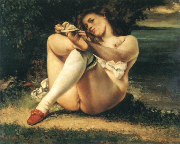 """Les Bas Blanc"" by Gustave Courbet (1861). The 1860s saw Courbet increasingly focus on the female nude as his subject and the growing emphasis on anatomical realism and eroticism."
