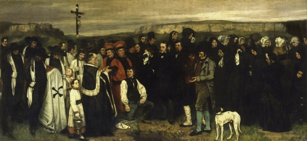 "Gustave Courbet's ""L'Eterrement à Ornans"" (completed circa 1850), which was his first major encounter with controversy."