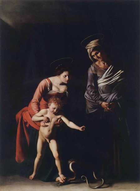 """""""Madonna Dei Palafrenieri"""" by Caravaggio (1605-1606) was removed from the Vatican Basilica for Jesus' nudity and Mary's bare feet."""