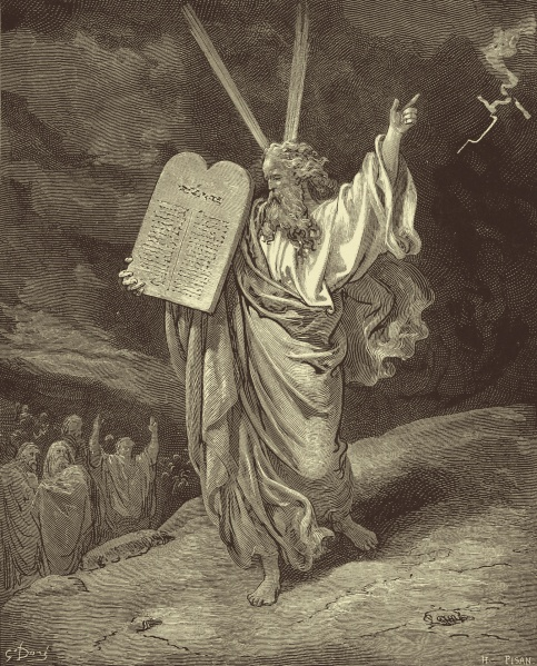 """""""Moses Coming Down from Mount Sinai"""" by Gustave Doré (1866) depicting Moses delivering the Ten Commandments to his people."""
