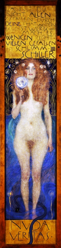 "Gustav Klimt's 1899 painting, ""Nuda Veritas"" (""The Naked Truth""), which was created to provoke and divide critics. On it is written a quote by Friedrich Schiller which reads, ""You can not appeal to everyone by your deeds or artwork, so do right by the few; to appeal to all is bad."""