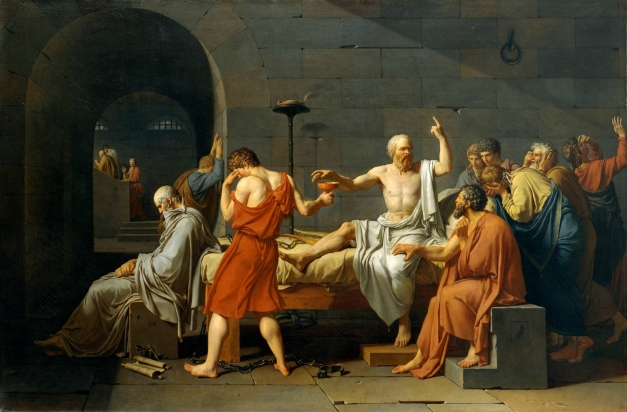 """The Death of Socrates"" by Jacques-Louis David (1878) depicts the final moments in the life of Greek philosopher Socrates, sentenced to death for criticizing his government."