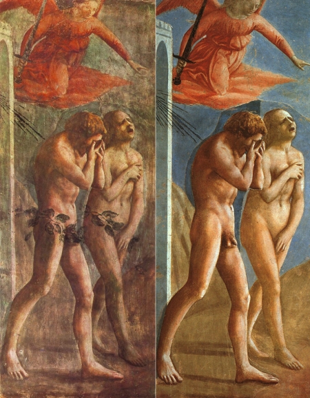 """""""The Expulsion from the Garden of Eden"""" by Masaccio (circa 1425). A side-by-side comparison of Italian Renaissance artist Masaccio's fresco, showing the un-restored fresco in which the genitalia was painted over by the church and the restored fresco with the genitalia exposed."""