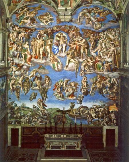 "Michelangelo's ""The Last Judgement"", part of the Sistine Chapel, which depicts scenes as described in the Biblical Revelations."
