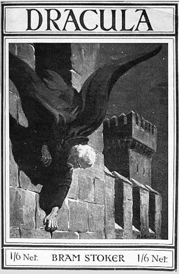 "A unique cover illustration to an early edition of ""Dracula"" depicting the Count crawling down the walls of his castle"