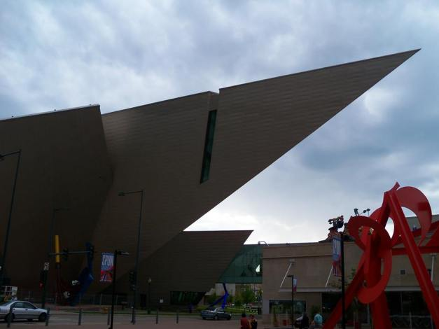 Just one view of the fascinating architecture of the Denver Art Museum which is divided into two buildings connected by a walkway bridge. Photo taken August 24, 2013.