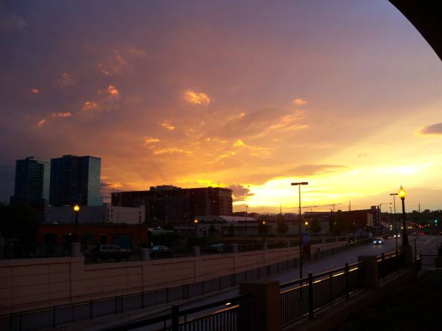 The welcoming view of a gorgeous sunset upon my arrival in Denver. Photo taken near the train station on August 22, 2013.