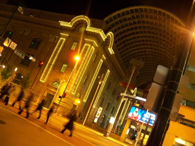 The busy streets of Denver after midnight. Photo taken on October 16, 2013.