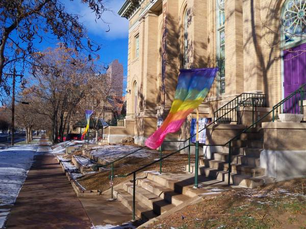 The LGBTQ pride banners at St. Paul's. Photo taken on December 22, 2013.