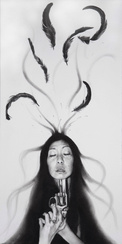 """A Murder of Crows – Renewal/Resurrection"" (2013).  A dark and provocative piece by Stephanie Inagaki exemplifying her symbolic use of feathers, hair, and the dichotomous juxtaposition of life and death, beauty and decay."