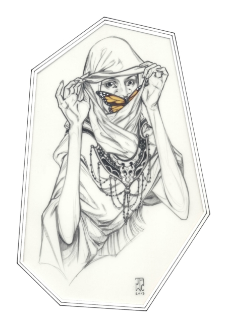 """Nomad"" (2013) is a great example of Cooper's emphasis on expressive eyes and clean line work. The woman in the sketch has an air of mystery to her."