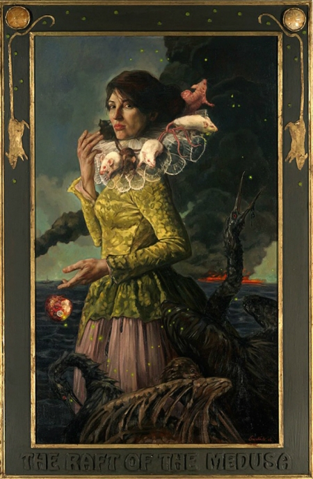 """The Raft of the Medusa"" by Gail Potocki (2012). In this painting, the title of which is an allusion to Théodore Géricault's painting of the same name depicting a human disaster that takes a toll on humans, shows the toll that man-made disasters, such as the Exxon-Mobil and BP oil spills, as well as Fukushima, and how these events are so catastrophic to animal life. In the painting, the opulently-dressed woman discards a half-eaten apple into the ocean, which has been devastated by oil. On the woman's collar is a group of rats who cling to her like a human raft, and among the rats is the experimented upon Vacanti mouse."