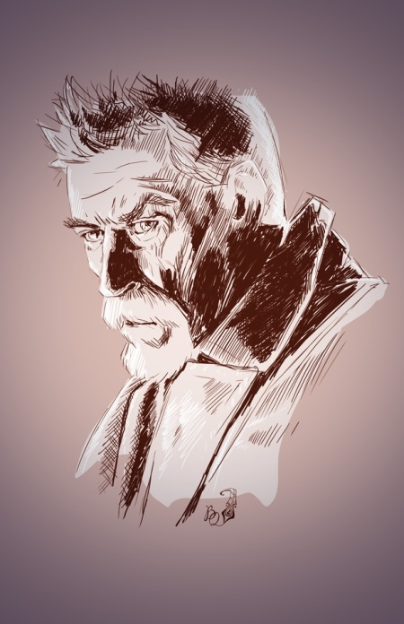 """John Hurt as the War Doctor"" (2014) is a great example of Satine's detailed and moody line work, as well as being ample evidence of her Whovian status."