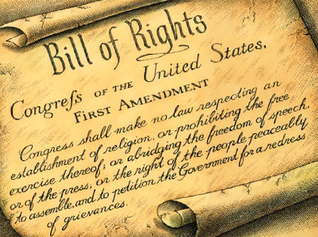 The First Amendment to the United States' Bill of Rights guarantees all citizens the right to practice the religion of their choice or to choose not to, to protect freedom of the press, and ensure that citizens can gather collectively in safety to voice political dissent.