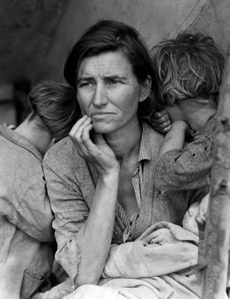 """""""Migrant Mother"""" by Dorothea Lange (1936)."""