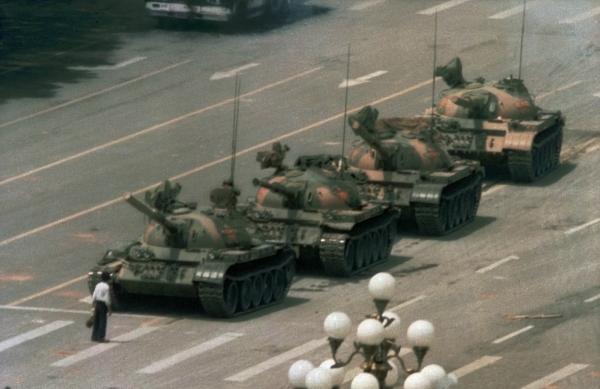 """""""Tank Man"""" by Jeff Widener (1989)."""